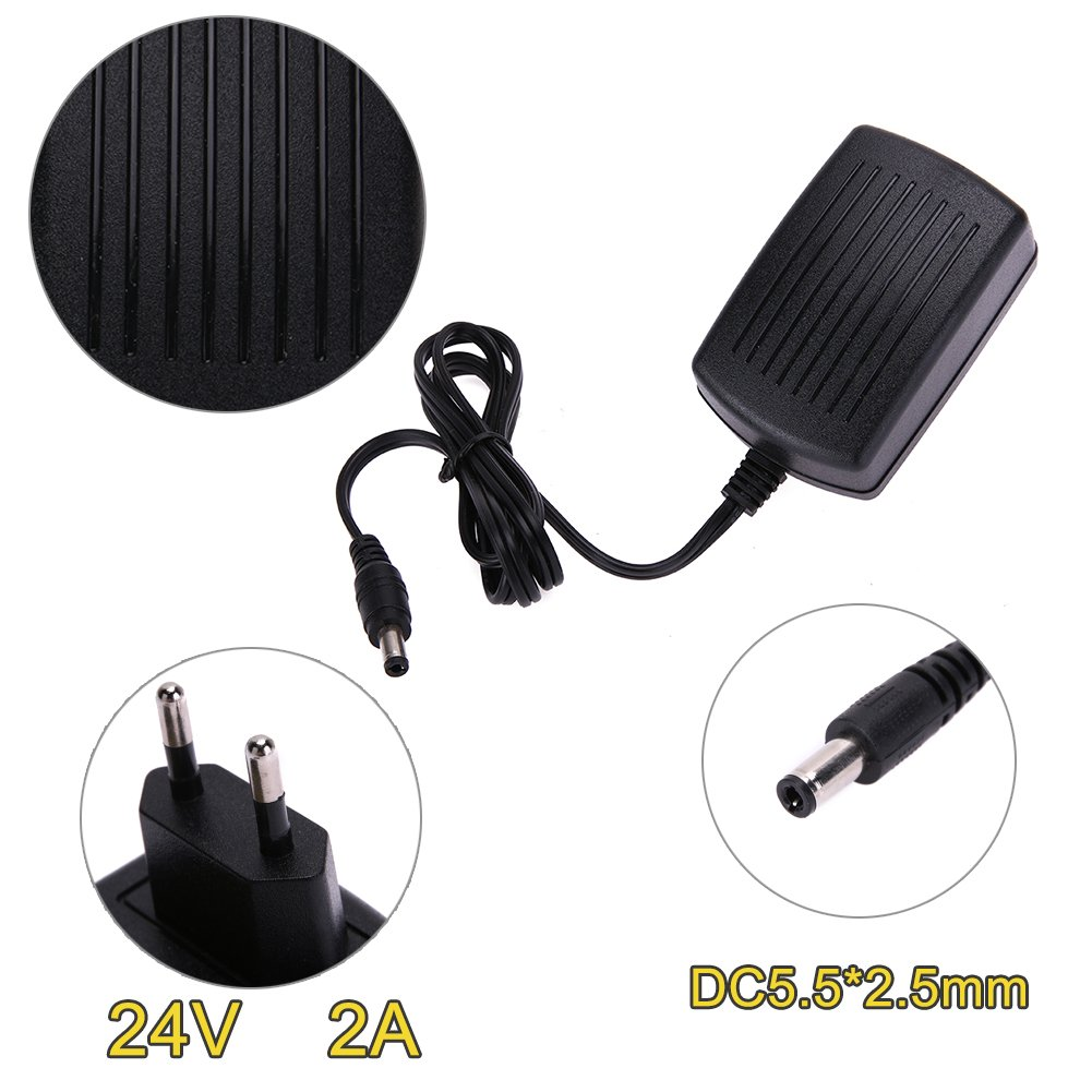 prettygood7 DC24V 2A Adapter AC 100V-240V to DC 24V Converter Power Supply Adapter 5.5*