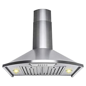 "Golden Vantage 30"" Wall Mount Stainless Steel Push Button Control Kitchen Range Hood Stove Vent"