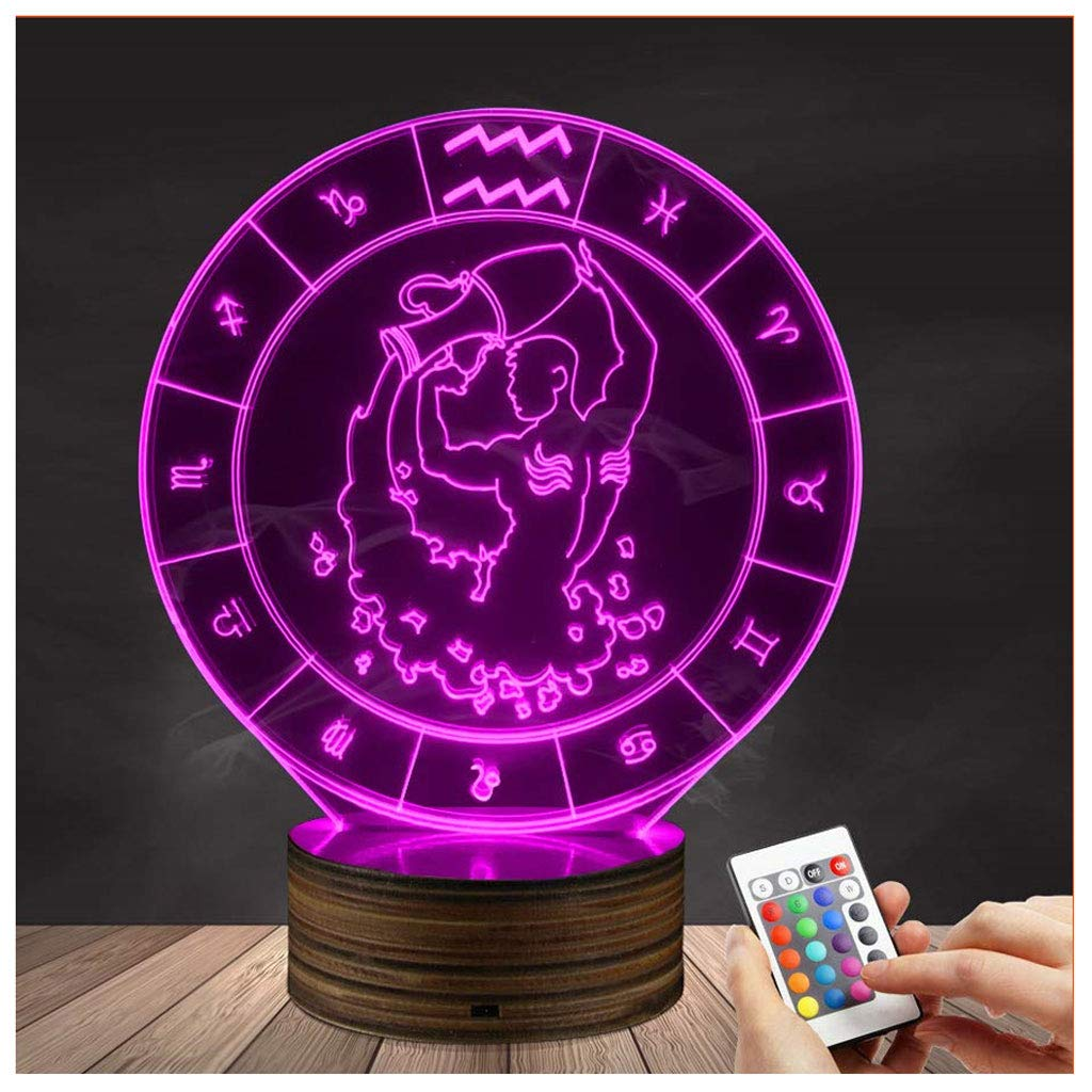 Novelty Lamp, 3D Led Lamp Optical Illusion Taurus Night Light USB Powered Bedroom Table Lamp Children's Gifts Home Decoration 16 Colors with Remote Control,Ambient Light