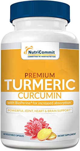 Turmeric Curcumin Capsules with Bioperine Black Pepper – Max Strength, 95 Curcuminoids 750mg Support Pain Relief, Joints Overall Health w Potent Antioxidant Blend Curcumin Turmeric Supplement