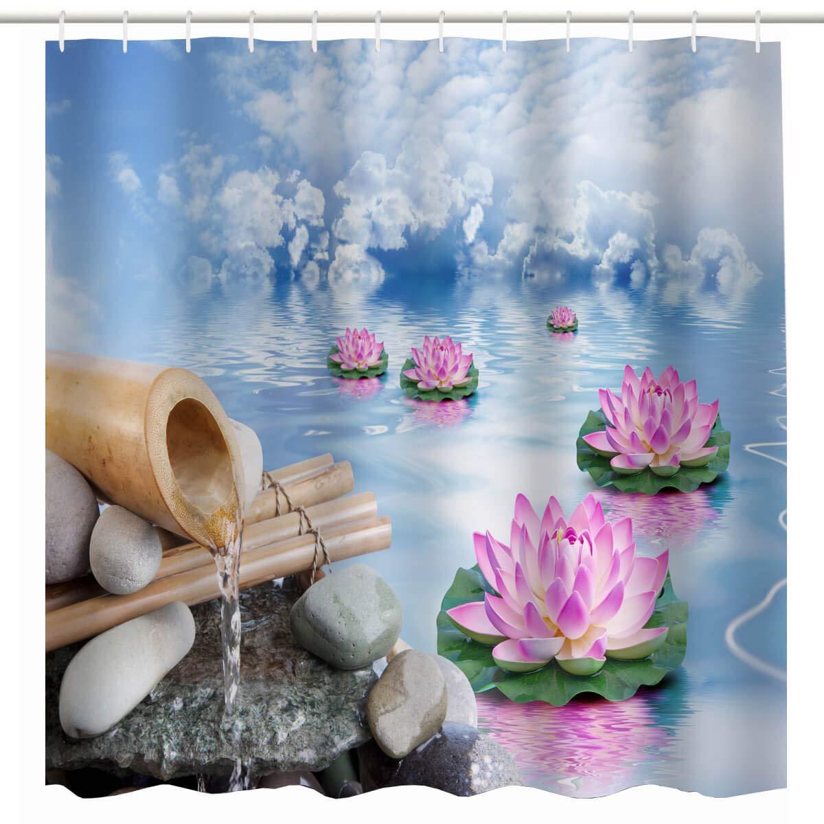 Amazoncom Broshan Spa Shower Curtain Setzen Spring Nature Asian
