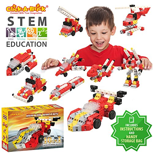 Click-A-Brick Rockin Racers 100pc Building Blocks Set | Best STEM Toys for Boys & Girls Age 5 6 7 Year Old | Fun Kids 3D Construction Puzzle | Top Educational Learning Gift for Children Ages 5-10