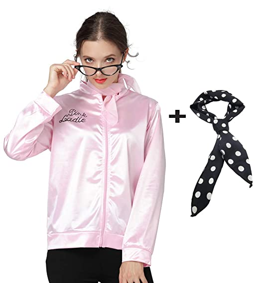 cc4b4282f6 Amazon.com  Women Pink Jacket 1950s Halloween Ladies Costume with ...