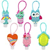 Biubee 6 Sets Cartoon Silicone Hand Cleaner Holders Empty Travel Keychain Carriers with Hand Refillable Bottles Mini Detachab