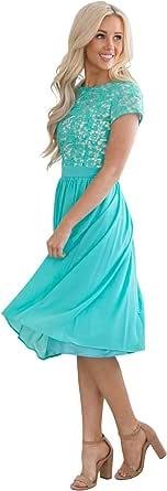 Amazon.com: Jen Olivia Lace & Chiffon Modest Dress, Modest