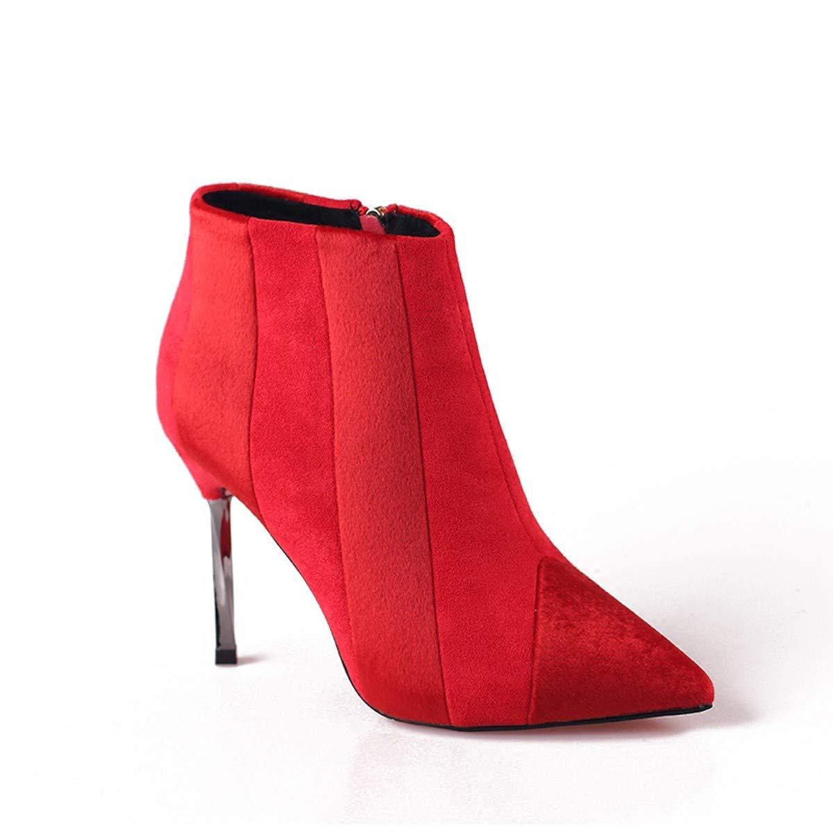 LBTSQ-Gut Bei Fuß 10Cm Spitzen Stiefeln Zusammenfügen High Heels Braut Die Hochzeit Schuhe Und Stiefeletten.