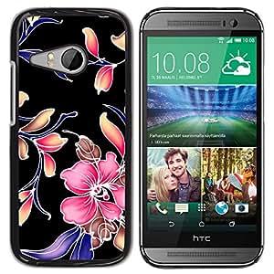 Qstar Arte & diseño plástico duro Fundas Cover Cubre Hard Case Cover para HTC ONE MINI 2 / M8 MINI ( Retro Fabric Wallpaper Rustic Pattern Floral)