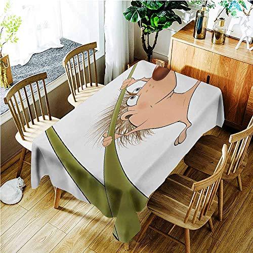 TT.HOME Anti-Fading Tablecloths,Hedgehog Naked Cute Small Animal Cartoon Soft Color Scheme Wildlife Nature Humor Image,Modern Minimalist,W60X102L,Tan Brown Green