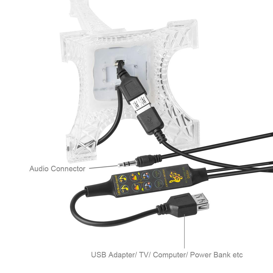 BTF-LIGHTING USB Music Built-in Mic Dream Color Controller CSY07 Remote Control 512 Pixels for Eiffel Tower LED