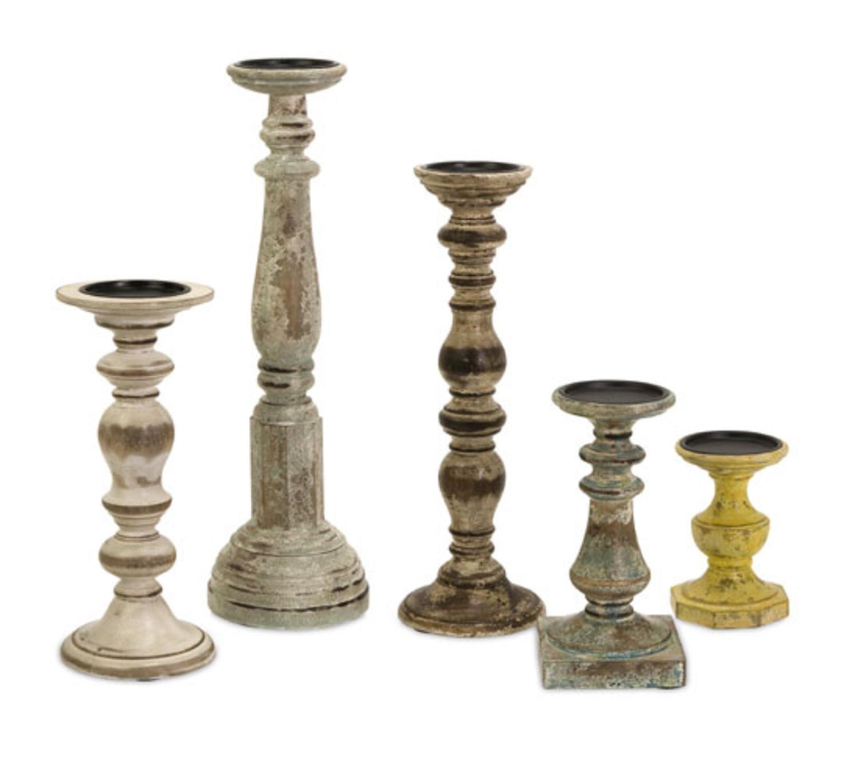 Amazon CC Home Furnishings Set Of 5 Rustic Finish Distressed Wood Pillar Candle Holders Kitchen