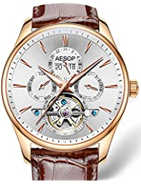 Men's Automatic Mechanical Tourbillon Watch Stainless Stell Perpetual calendar Waterproof Luminous Watch (Brown Leather white)