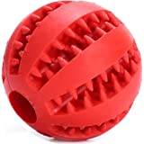 PETBABY Dog Rubber Ball Chew Toy, Bite Resistant Treat Dispensing Tooth Cleaning Puppy Toy for Small Medium Large dog (Red)