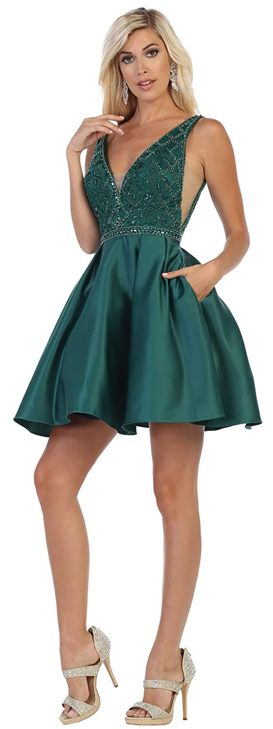Hunter Green Formal Dress Shops Inc FDS1645 Cute Homecoming Graduation Dress
