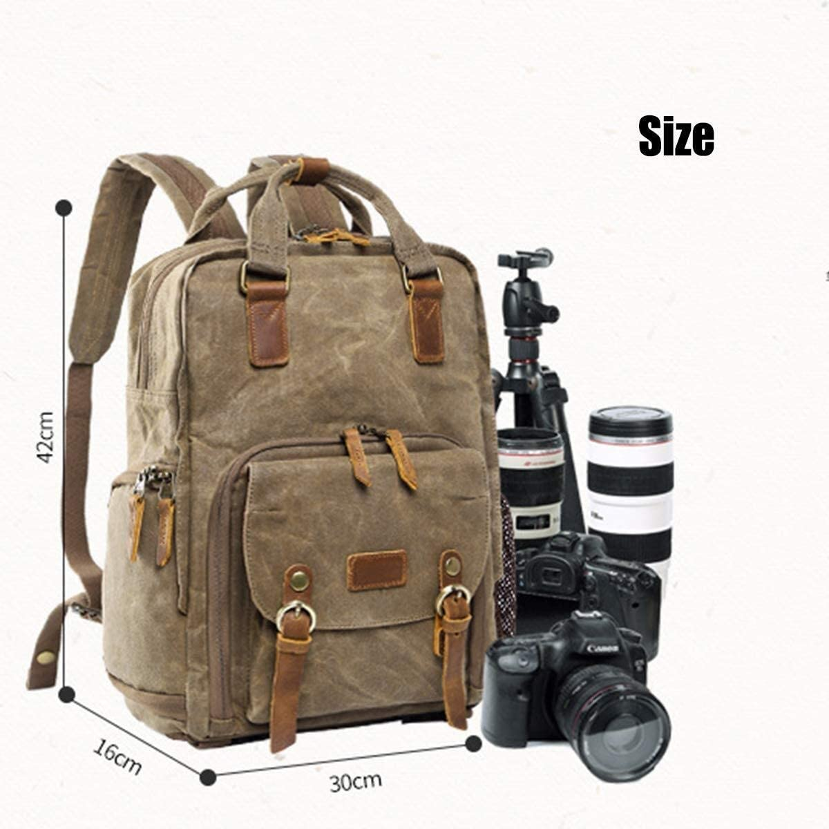Outdoor camping folding bed DSLR SLR Camera Backpack,Shockproof Waterproof Anti Theft Photography Casual Travel Bag Canvas Genuine Leather Camera Rucksack For Laptop Tripod And Accessories 301642cm