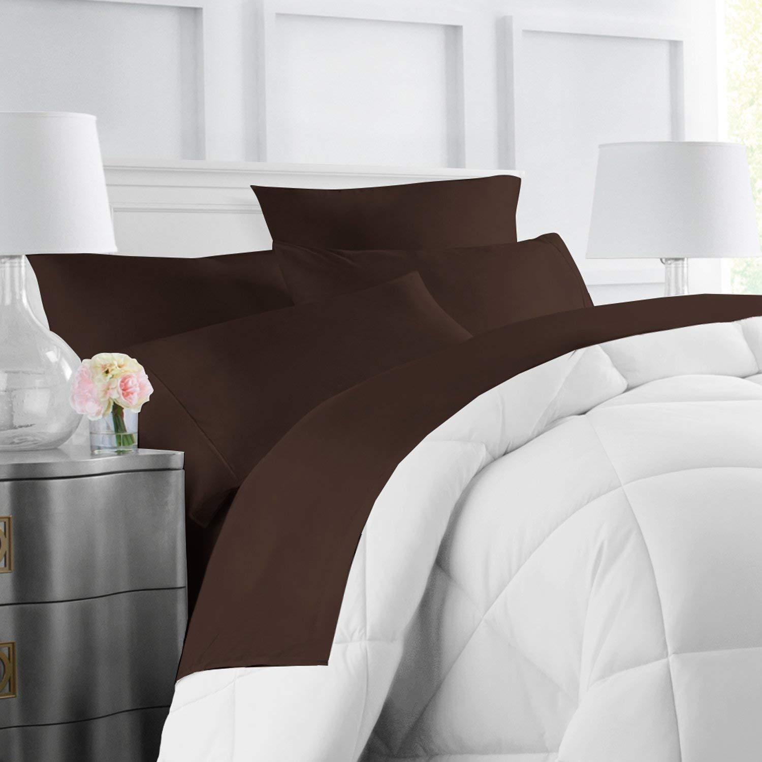 Egyptian Luxury Hotel Collection 4-Piece Bed Sheet Set - Deep Pockets, Wrinkle and Fade Resistant, Hypoallergenic Sheet and Pillow Case Set - Queen, Chocolate
