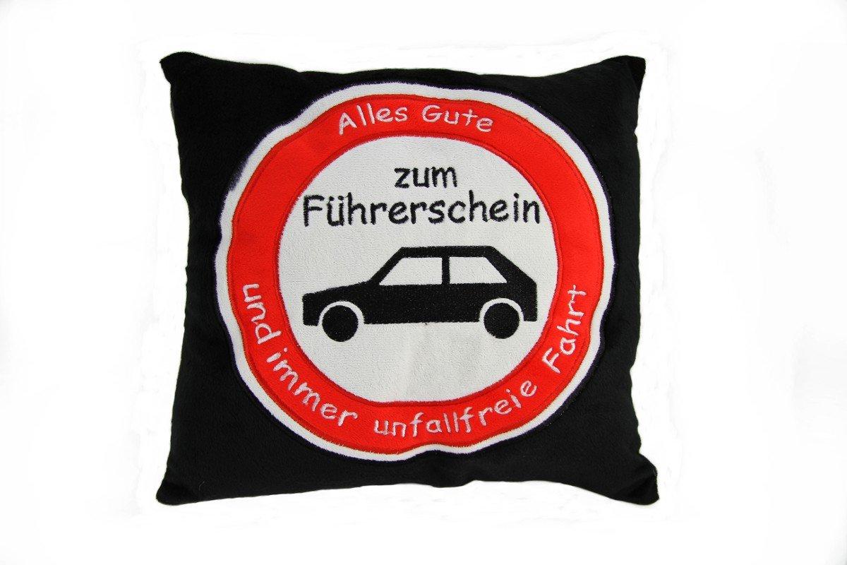 Plü schkissen Kissen Autokissen Fü hrerschein Spruchkissen 'Alles Gute...'schwarz TE-Trend