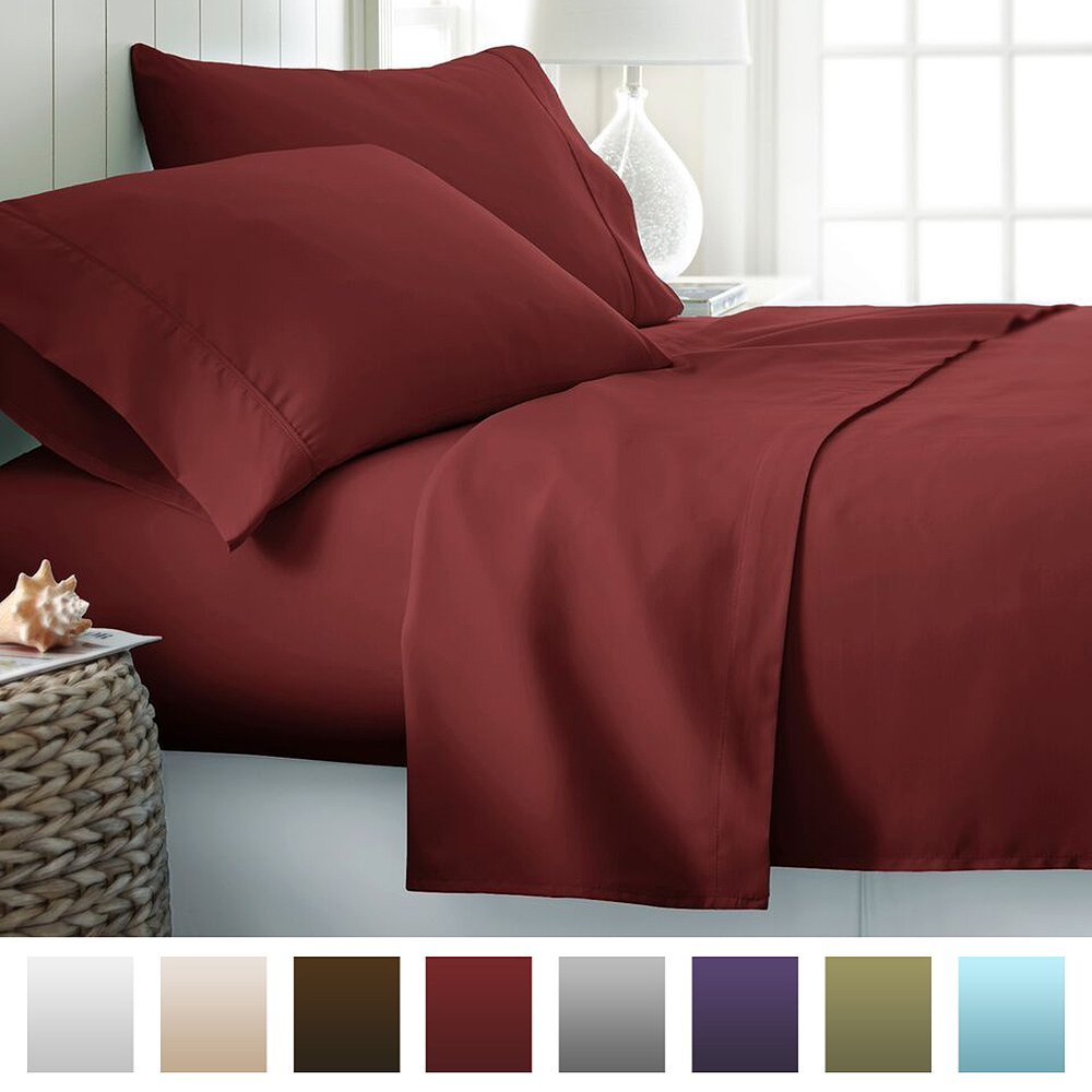 Hotel Collection Luxury Soft Brushed Bed Sheet Set Deep Pocket, Queen, Burgundy