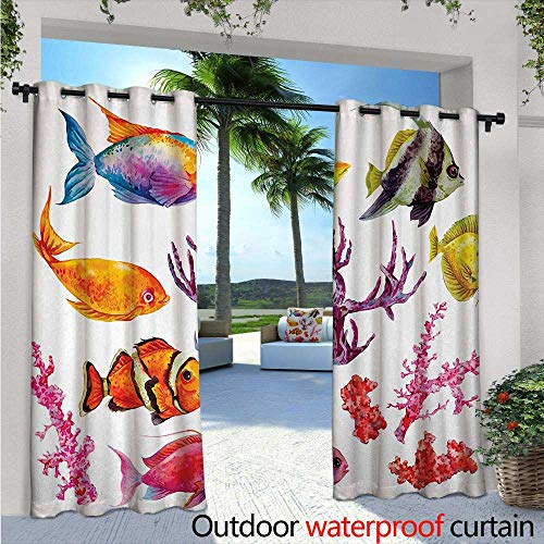 Ocean Outdoor- Free Standing Outdoor Privacy Curtain W72 x L84 Illustration of Tropical Fish Seaweed Coral Algae and Jellyfish Oceanic Wild Life for Front Porch Covered Patio Gazebo Dock Beach -