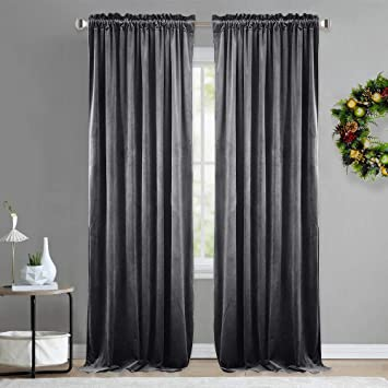 Nicetown Luxury Velvet Curtain Panels Home Decoration Window Treatment For Living Room Bedroom Home Theatre 2 Panel Per Pack 96 Inches Long Grey