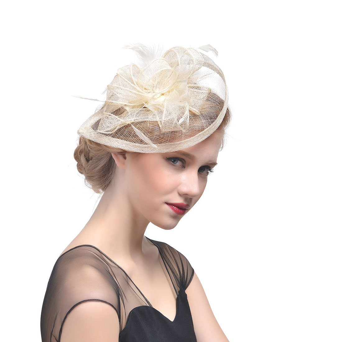 FeiYu Crafts Penny Mesh Hat Fascinator with Mesh Ribbons and Ivory Feathers
