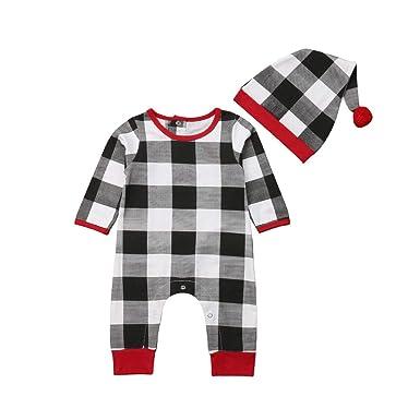 98d20e6d7ca74 Newborn Baby Boys Girls Plaid Romper Pajamas Jumpsuit + Hat 2pcs Xmas  Clothes Outfit Set (
