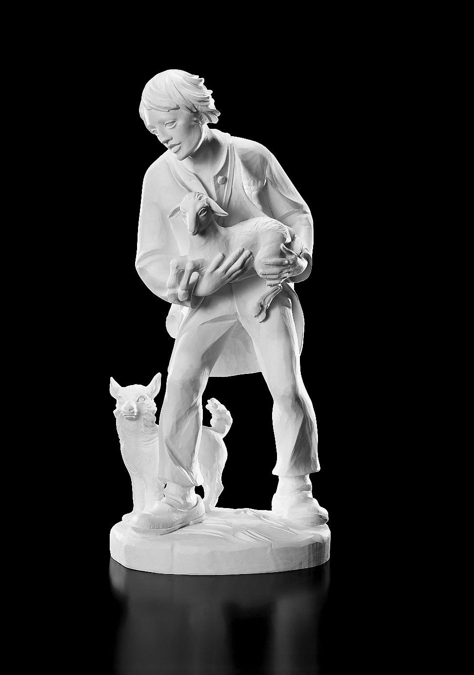 Shepard and Lamb with Dog Statue. 32''H Val Gardena Nativity. Resin. Collectible Figurine. WC968