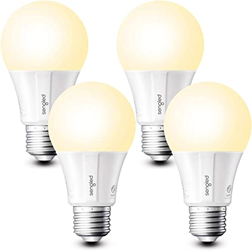 Sengled Smart Light Bulb, Smart Bulbs that work with Alexa, Google Home Smart Hub Required , Smart Bulb A19 Alexa Light Bulbs, 800LM Soft White 2700K , A19 Dimmable, 9W 60W Equivalent , 4 Pack