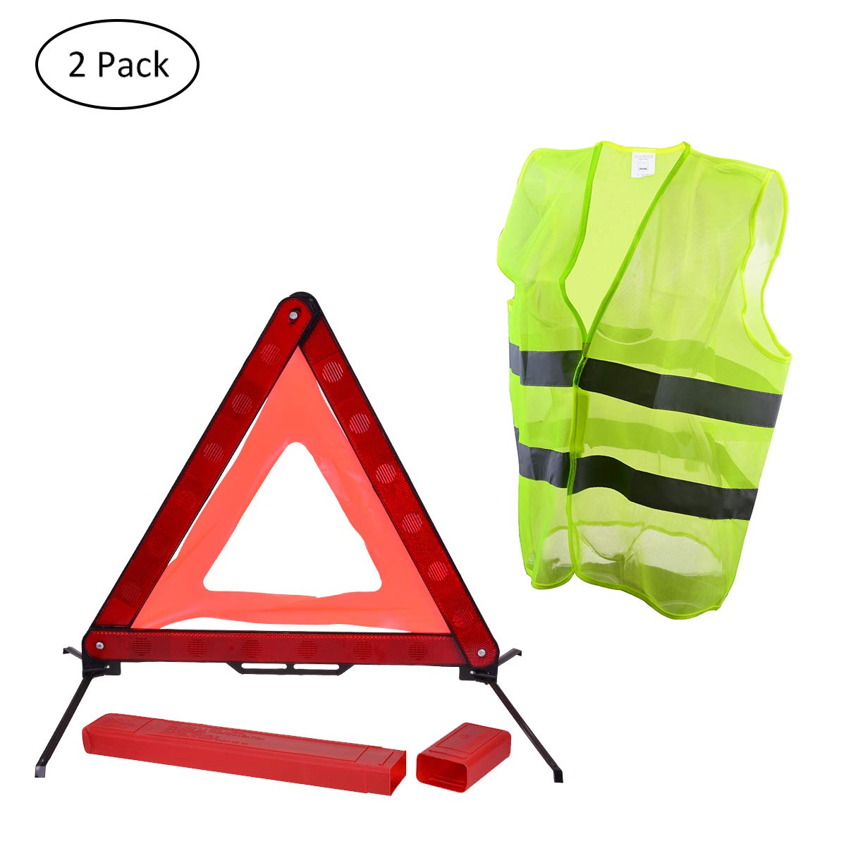 YoungRich Traffic Safety Sign Set 1 Pack Reflection Warning Emergency Triangle Plate with A Red PVC Case and 1 Pack Reflective Safety Vest Fluorescent Waistcoat for Construction Biking Driving