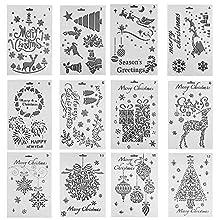 12 PCS Christmas Stencil Material,10×7inch-DIY Hand Drawing Inkjet,Art Stencils, Drawing Tools, Drafting Supplies