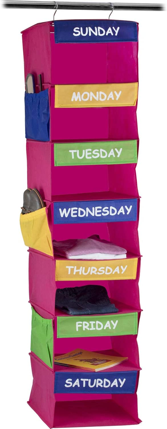 Sagler Daily Activity Organizer Kids 7 Shelf Portable Closet Hanging Closet Organizer Great Closet Solutions