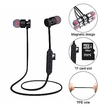 KOBWA Auriculares Inalámbricos Bluetooth,Auriculares Ligeros de Oreja Magnética Resistente Agua Auriculares de Apoyo Micro SD/TF Tarjeta De Reproductor de ...