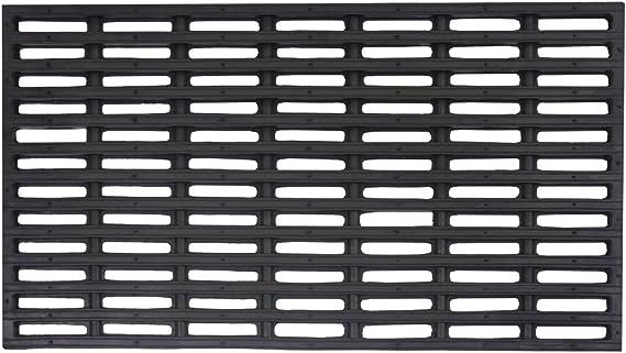 Black JVL Robusta Heavy Duty Rubber Link Entrance Door Mat Plastic 36 x 61 cm