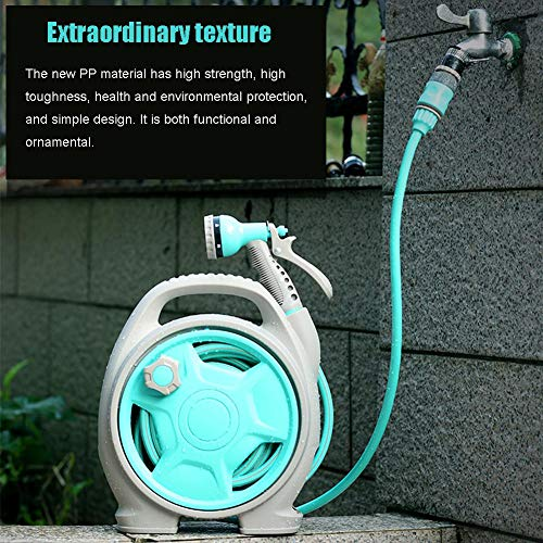 EZSHOP Retractable Poly Wall Mount Hose Reel, Swivelling Auto Hose,  Including 11m Quality Hose, Multi-Function Spray Nozzle, Portable Pipe Rack  for