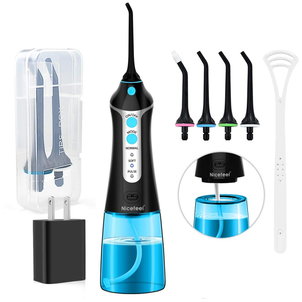 Cordless Water Flosser Oral Irrigator, Nicefeel 300ML 2 Tip Case Portable and Rechargeable Water Flossing for Travel, IPX7 Waterproof 3 Mode Teeth Cleaner with Tongue Cleaner, 4 Jet Tips for Home by Nicefeel