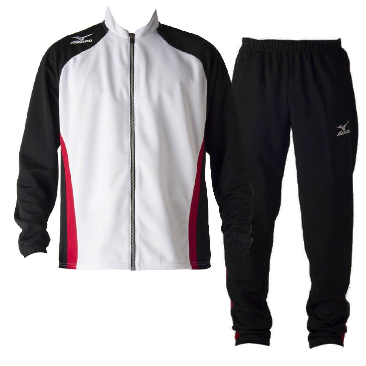 ミズノ(MIZUNO) ウォームアップシャツ&パンツ 上下セット(ホワイトブラック/ブラック) U2MC7050-79-U2MD7050-09 2XL ホワイト×ブラック×ブラック B06XCH34PS