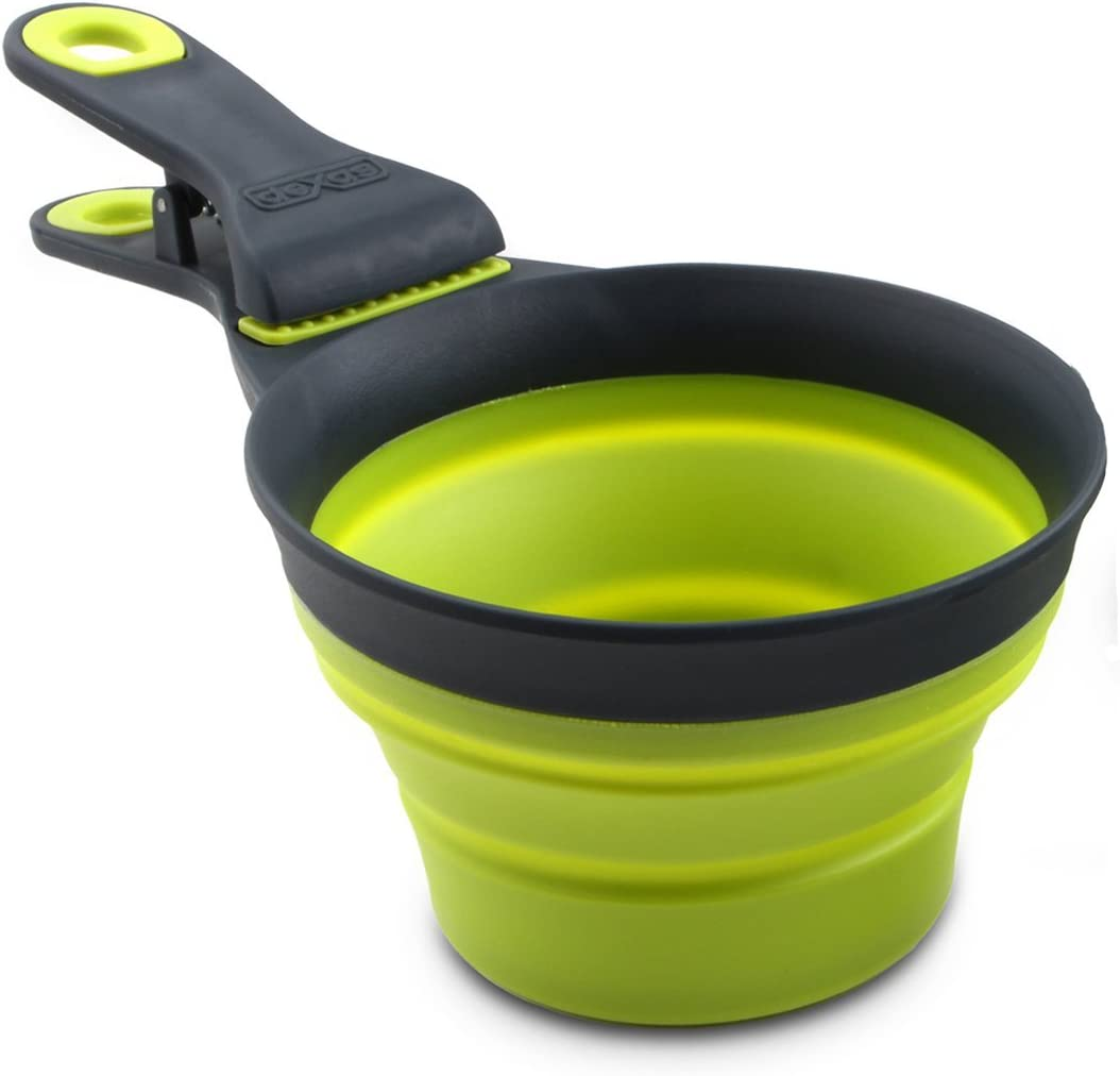 Dexas Popware for Pets Collapsible KlipScoop, 1/2 Capacity, Gray/Green