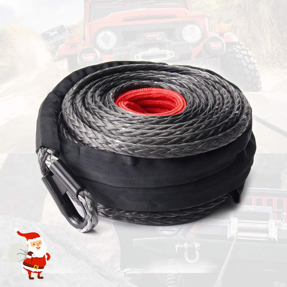 Synthetic Winch Rope 3/8'' x 85' - 25000 Ibs Winch Line Cable Rope with Protective Sleeve for 4WD Off Road Vehicle ATV UTV SUV Motorcycle