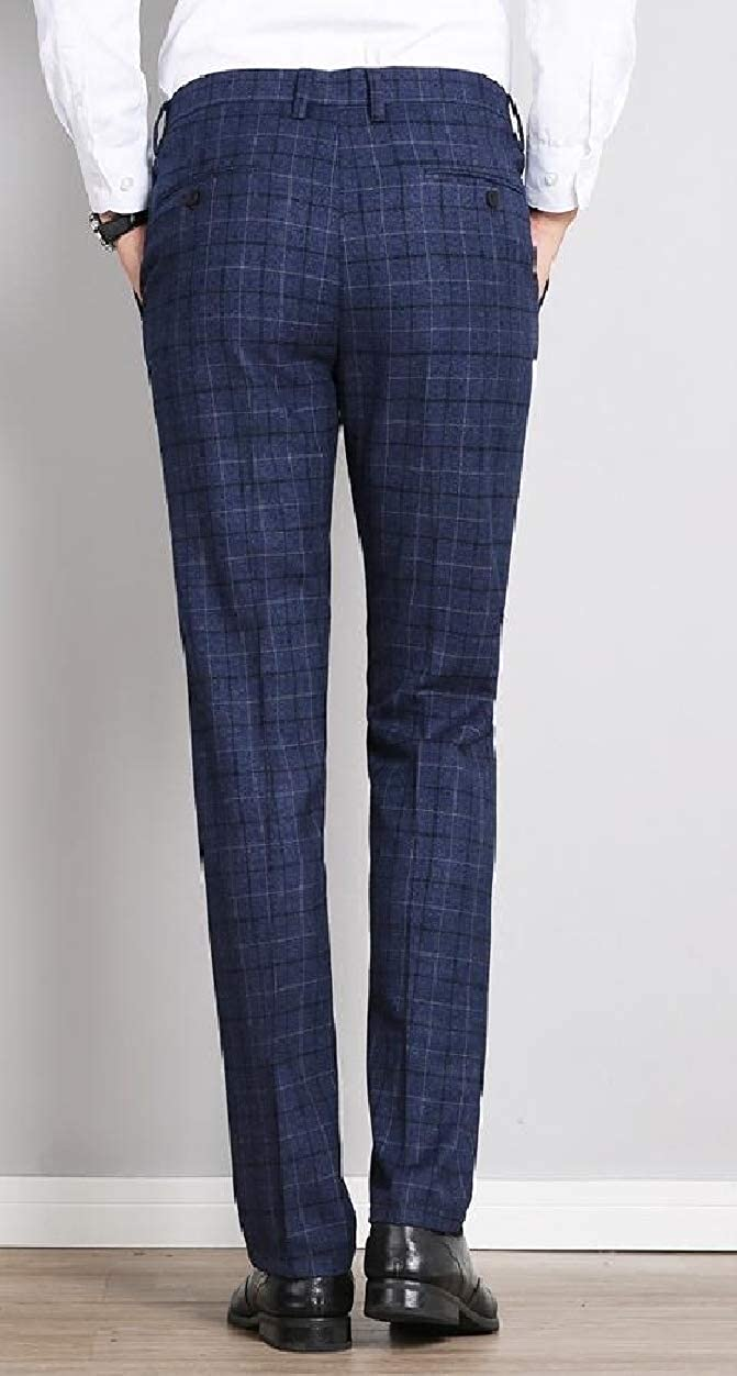Abetteric Mens Plaid Business British Style Slim Fit Plain-Front Pants