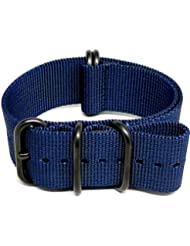 DaLuca Ballistic Nylon Military Watch Strap - Navy (PVD Buckle) : 22mm