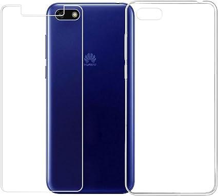 LJSM Huawei Y5 2018 / Huawei Y5 Prime 2018 Trasparente Cover Pellicola Protettiva in Vetro Temperato - Morbido Clear Silicone Custodia TPU Gel ...