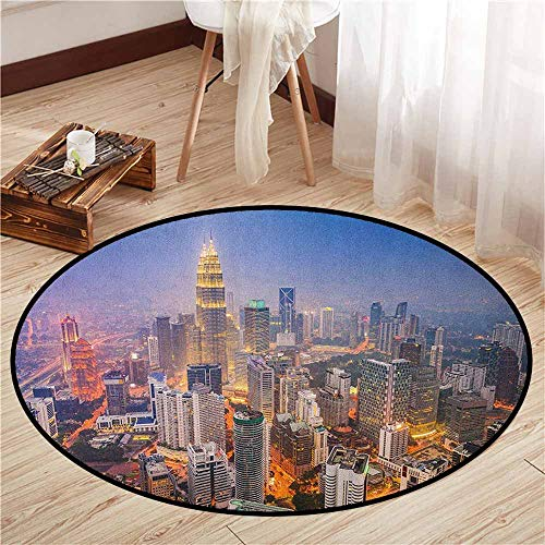 Living Room Round Mat,Urban,Modern City Skyline Business District Skyscraper Towers Kuala Lumpur Malaysia,Children Bedroom Rugs,2'11