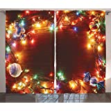 Christmas Decorations Curtains by Ambesonne, Fairy Lights Image on Wooden Rustic Pine with Xmas Ornaments and Candy Lollies, Living Room Bedroom Decor, 2 Panel Set, 108W X 84L Inches, Multi Color