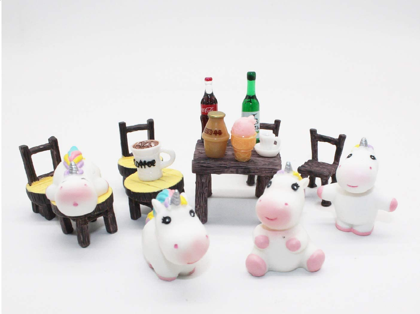 Miniature Fairy Garden Landscape Decoration, Include 4 Pieces Miniature Unicorn Horse and 6 Pieces Table and Chairs, 6 Pieces Bistro Drink Kit for Garden Crafts Flowerpot Fairy Decoration