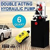 OrangeA Hydraulic Pump Double Acting Hydraulic Pump 12V Dump Trailer 6 Quart Reservoir Remotely Controlled (6 Quart Steel Double Acting)