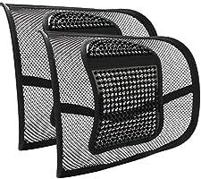 2 Stück Lordosenstütze Mesh für Auto und Büro, RenFox Lendenkissen Rückenkissen Kissen Rückenstütze für Bürostuhl, Auto...