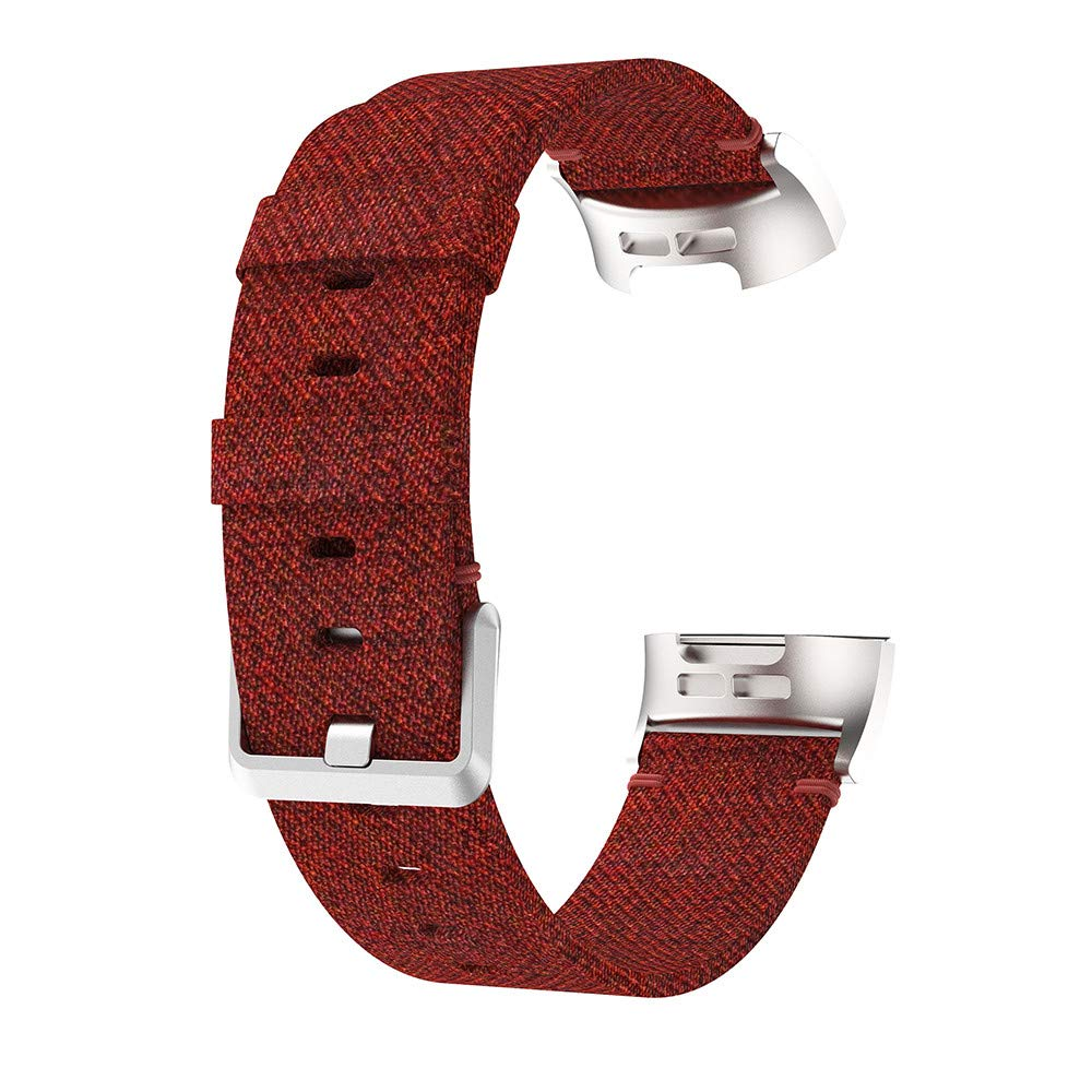 Fitbit Charge 3 Band,Lovewe Replacement Woven Canvas Fabric Watch Band Wrist Strap For Fitbit Charge 3 (Red)