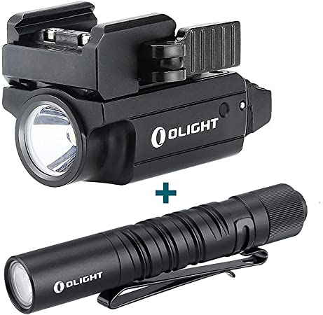 OLIGHT PL-Mini 2 Valkyrie 600 Lumens Magnetic USB Rechargeable Compact Weaponlight with Adjustable Rail, Bundled with I3T EOS 180 Lumens AAA Flashlight