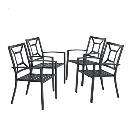 Stupendous Phi Villa Metal Patio Dining Chairs Set Of 4 Pack With Armrest For Kitchen Backyard Balcony Black Outdoor Furniture Spiritservingveterans Wood Chair Design Ideas Spiritservingveteransorg