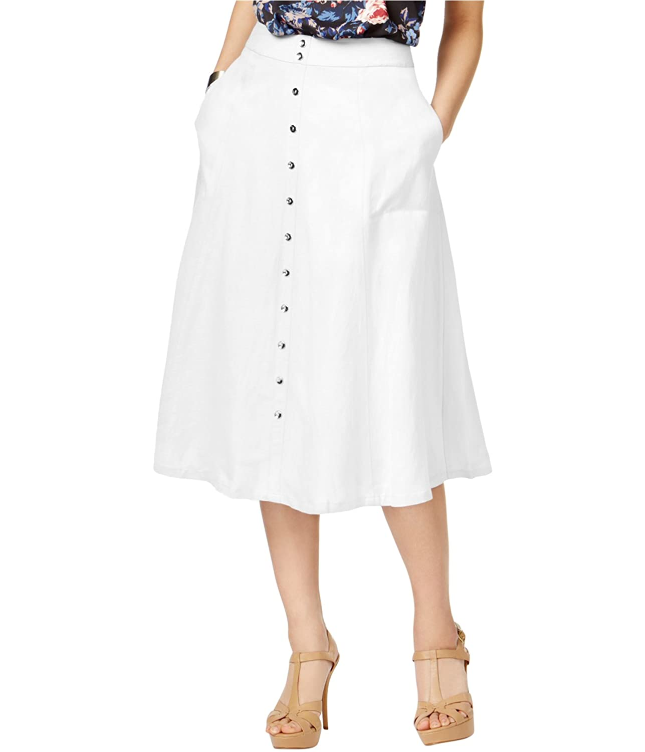 c05445dfe54 Linen rayon  lining  cotton. Olivia   Grace s sweeping A-line skirt is  finished with two on-seam pockets at the hips