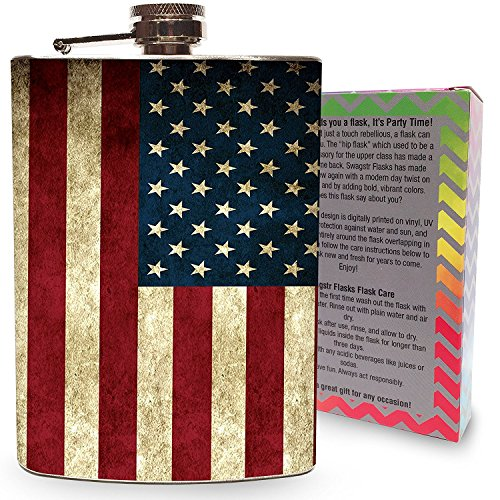 American Flag Flask 8oz Stainless Steel Silver Metal Hip Flasks for Drinking Whiskey Alcohol Liquor Vintage USA Flags America American Holidays ()